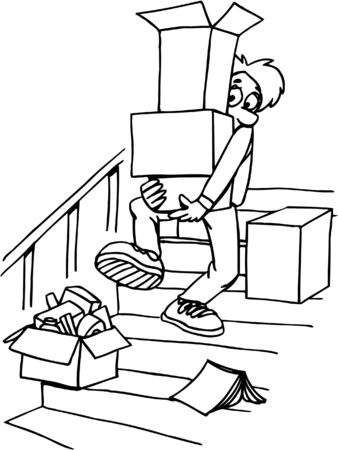 Boy carrying boxes down steps Ilustrace