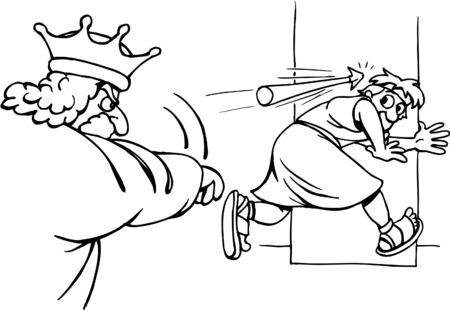 King Saul throws arrow at David