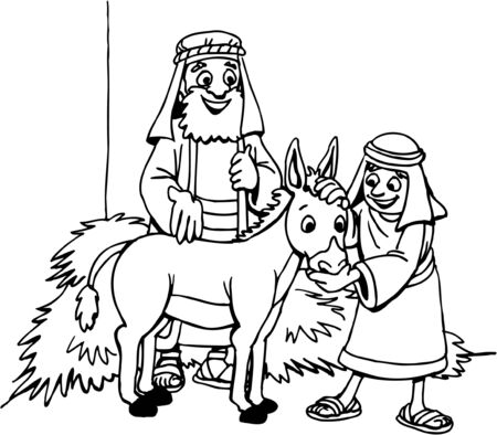 Bible Characters with Donkey Ilustrace