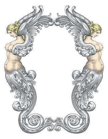 wet flies: Mermaids vector Illustration