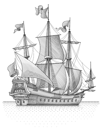explore: Retro ship vector Illustration