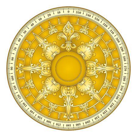 Retro gold compass