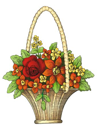 gift basket: Bascet with flowers