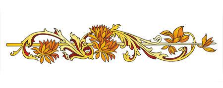 Gold flower ornament  Illustration