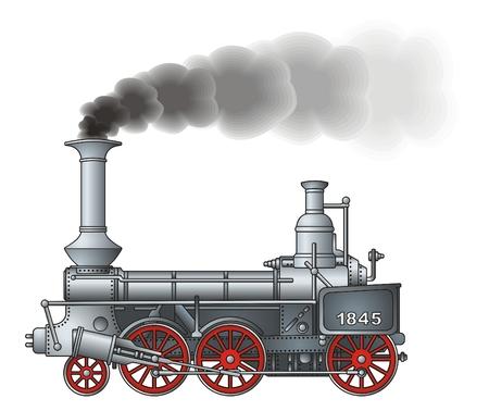 Locomotora retro  Ilustración de vector