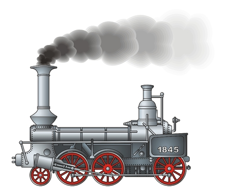 railway history: Retro locomotive   Illustration