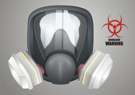 danger chimique: Masque � gaz vecteur Illustration