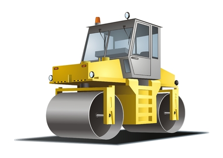 heavy construction: Road roller vector