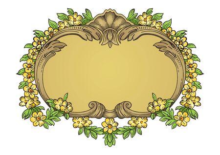 yellow jacket: Floral frame  Illustration