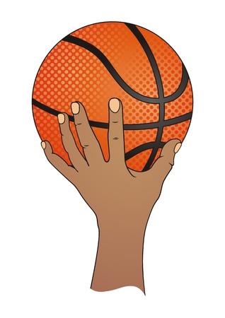 Hand with Basketball  Vector