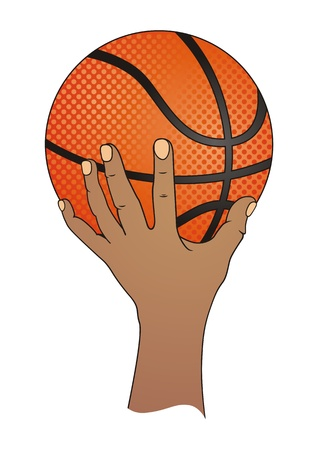 Hand with Basketball  Vector