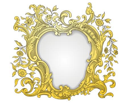 decorate element: Vintage golden frame Illustration