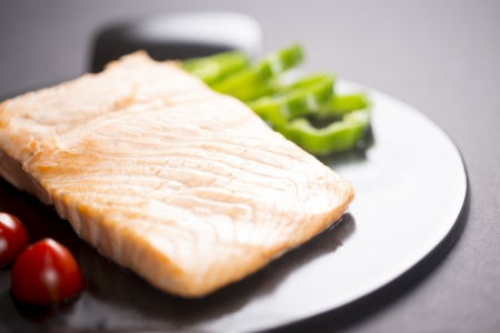 things that go together: steamed fish in black plate