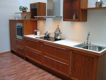 Modern design kitchen with hardwood elements metal and glass Standard-Bild
