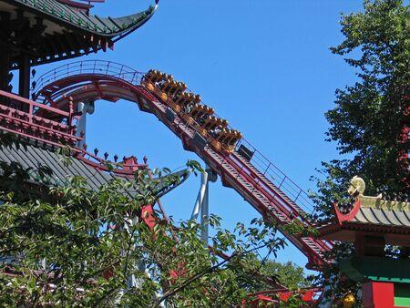 Rollercoaster ride in Tivoli Gardens Copenhagen Denmark
