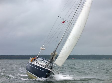 Sailboat racing in the winter  Stock Photo