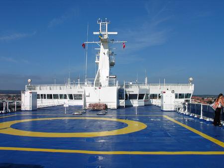 helipad: Helicopter landing Helipad on a ferry ship