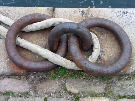 anchoring: Old anchoring point  made of cast iron in a port