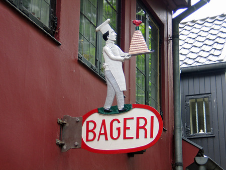danish: Sign of a traditional Danish bakery in Denmark Stock Photo