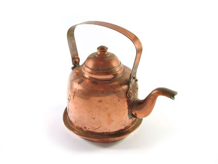 Antique copper brass kettle isolated on white Stock Photo
