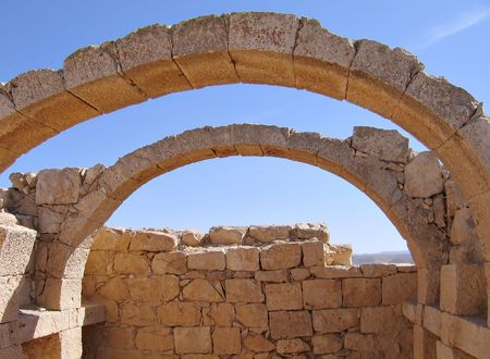 nabataean: Details of arches in an ancient Nabataean desert city Israel