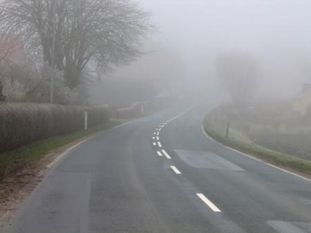 Foggy misty country road Standard-Bild