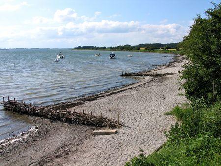 jutland: Beach with parking boats in Funen Denmark