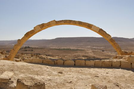 nabataean: Stone arch in an ancient Nabataean desert city Israel