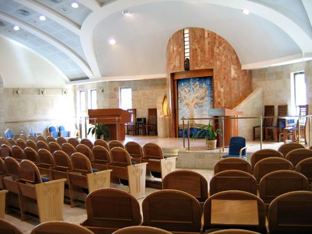 jewish ethnicity: Interiors of a new modern design Synagogue