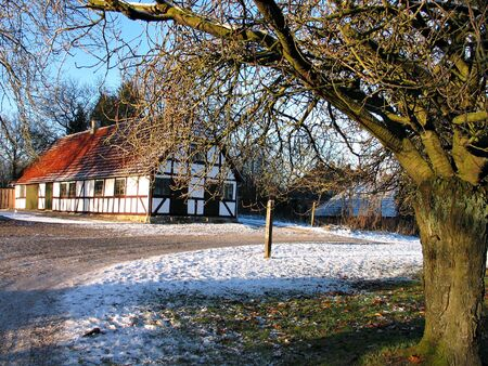 Farmhouse in the snow time in Funen Denmark Stock Photo - 2712035