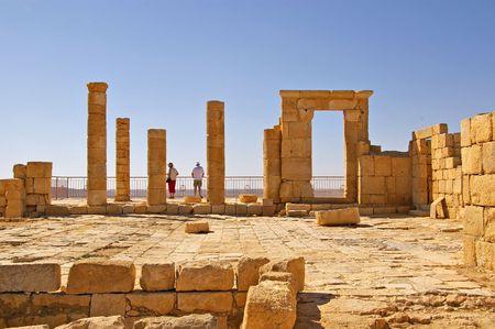 nabataean: Ancient Nabataean city in the Negev Desert Israel Stock Photo