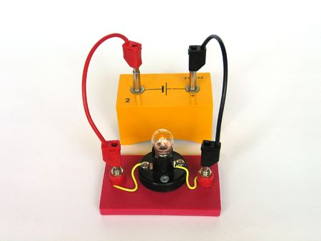 Demonstration of a light bulb in a simple electrical circuit photo