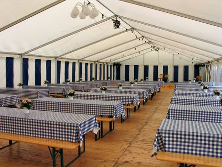 life events: Inside view of a party events wedding celebration banquet tent