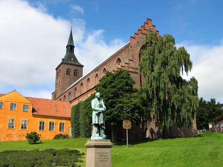 ugly duckling: Sculpture statue of Hans Christian Andersen Odense Denmark