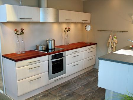 Modern design kitchen with hardwood and metal elements