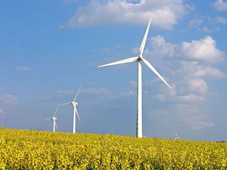 energies: Environmental friendly alternative energy by wind turbines in rapes field Stock Photo