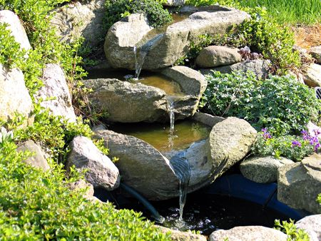 beauty fountain: Beautiful decorative home garden stone waterfall pond