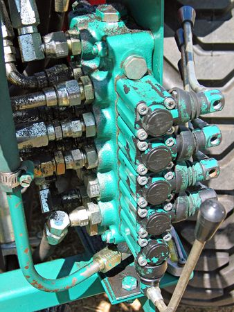 Part of modern hydraulic machinery in close view