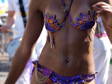 Brazilian beutiful dancer in Samba Carnival in closeup view