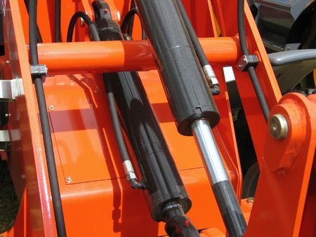 Details of hydraulic machinery - industrial abstract background Stock Photo
