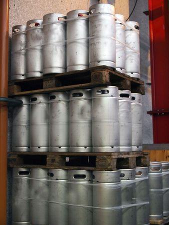 kegs: Beer kegs barrels in a brewery pub        Stock Photo
