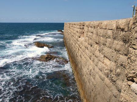 Mer mur historique de la vieille ville d'Acre en Israël Akko Banque d'images - 4032109