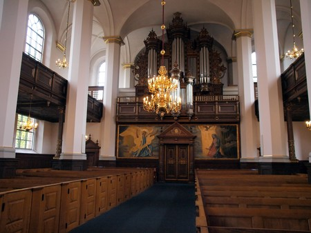 Alter and pipes organ in a church