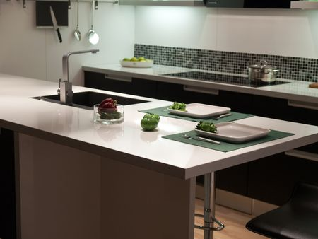 Modern design trendy styled kitchen with black and white