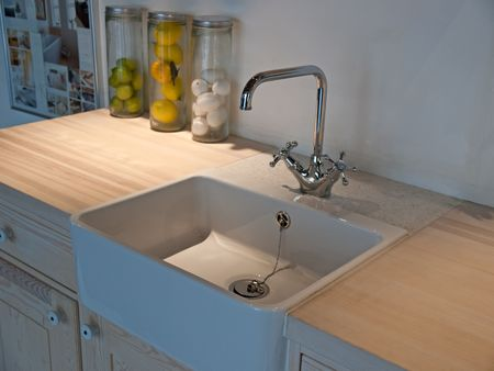 Details of modern classical design kitchen sink with water tap