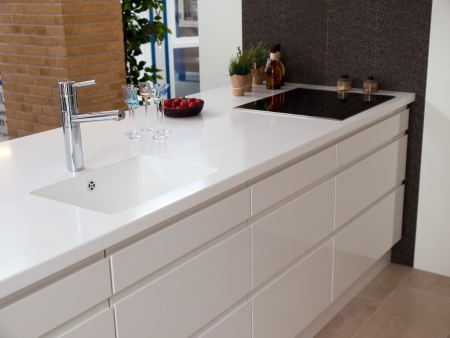 Modern design white kitchen made from polished wood