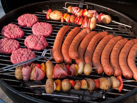 Summer Barbecue BBQ grill party with selection of meat