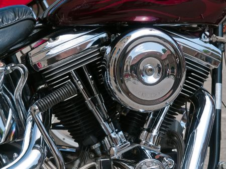 Details of motorcycle engine and exhaust in shiny chrome reflection Stock Photo - 4964584