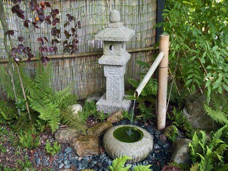 Beautiful decorative Japanese garden bamboo waterfall pond
