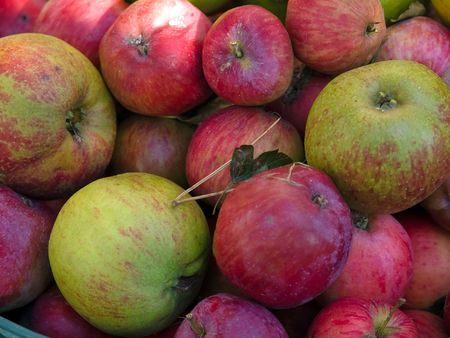 Fresh organic red apples in a basket - Healthy food photo